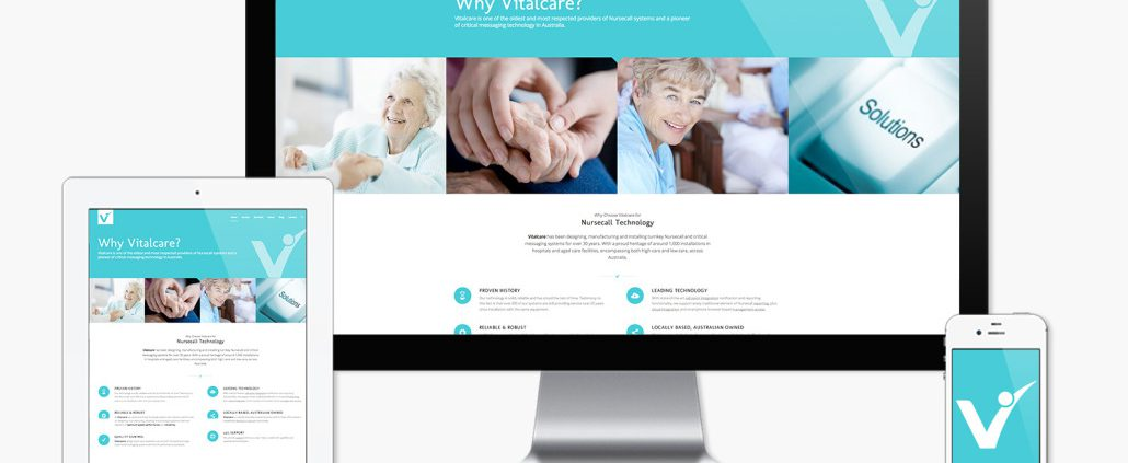 The Vitalcare Website on iMac, Table and Smart Phone