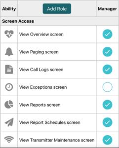 Vitalcloud assign User Role screen